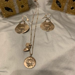 Satya sterling silver love charm necklace set